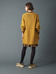 Indi & Cold Chunky knit open jacket in Mustard