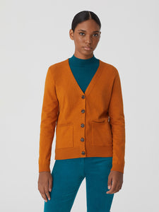 Nice Things V-neck cardigan with openwork in Ochre