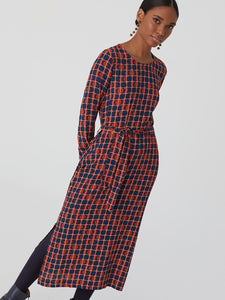 Nice Things 'Moon Phases' long line belted dress in Rust/ Navy