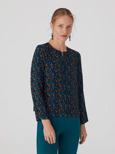 Nice Things Snowdrop print round neck blouse in Navy