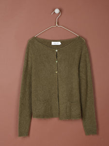 Indi & Cold jacket knit with pocket detail in Olive