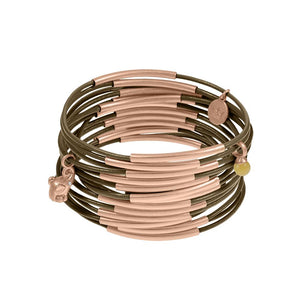 Sence Urban Gypsy multi stack leather bangles in Beech Rose Gold