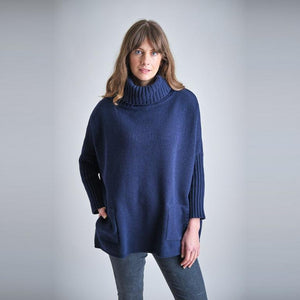 Bibico Adela oversized roll neck jumper with side patch pockets in Navy