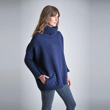 Load image into Gallery viewer, Bibico Adela oversized roll neck jumper with side patch pockets in Navy