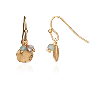 Azuni Alaya gemstone charm and stone cluster hook earrings in Aqua chalcedony and labraborite - CW CW
