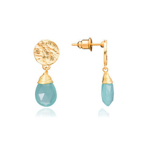 Azuni Kate drop gemstone earrings in Gold with aqua chalcedony - CW CW