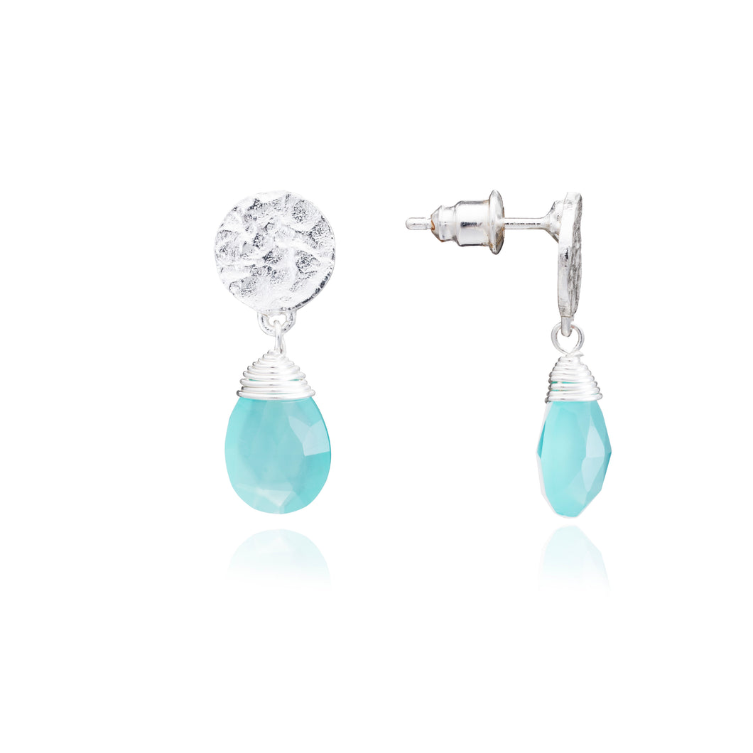 Azuni Kate drop gemstone earrings in Silver with aqua chalcedony - CW CW
