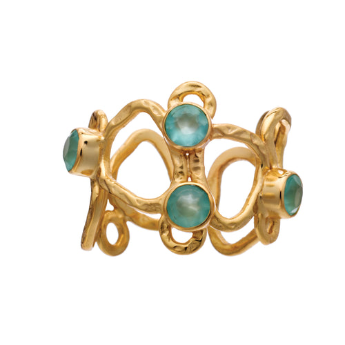 Azuni Athena sculptural ring with set stones in Gold with aqua chalcedony - CW CW