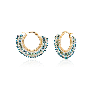 Azuni Awa small bead and crystal hoop earrings in Blue, cream and bronze - CW CW