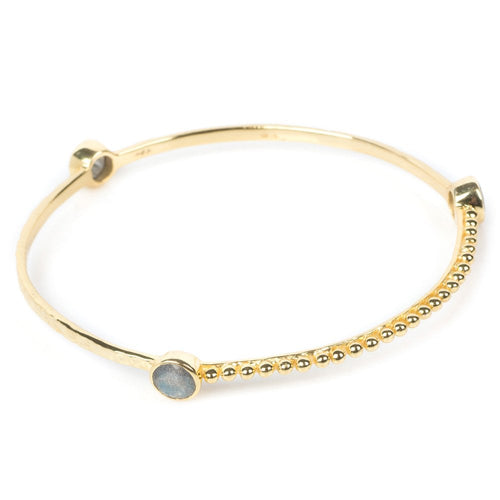 Azuni Three circular gemstone stacking bangle in Gold - CW CW