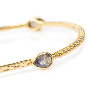 Azuni Three tear drop gemstone bangle in Gold - CW CW