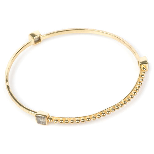 Azuni Square labradorite gemstone stacking bangle in Gold - CW CW