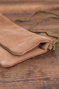 ese O ese Suede cross body bag in Camel - CW CW