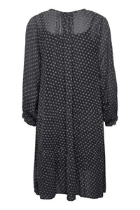 Part Two Banu georgette polka dot dress with tiered hem in Dark navy - CW CW