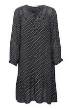 Load image into Gallery viewer, Part Two Banu georgette polka dot dress with tiered hem in Dark navy - CW CW