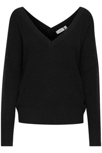 Ichi Karna feature V-neck front and back textured knit in Black