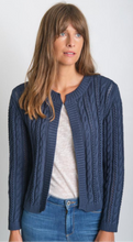 Load image into Gallery viewer, BIBICO Kate cropped Aran cotton cardigan in Navy - CW CW