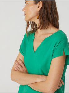 Nice things Basic textured cotton top in Intense Green - CW CW