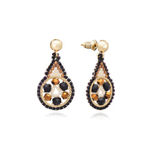 Load image into Gallery viewer, Azuni Ponca drop hoop crystal earrings in Black and gold - CW CW