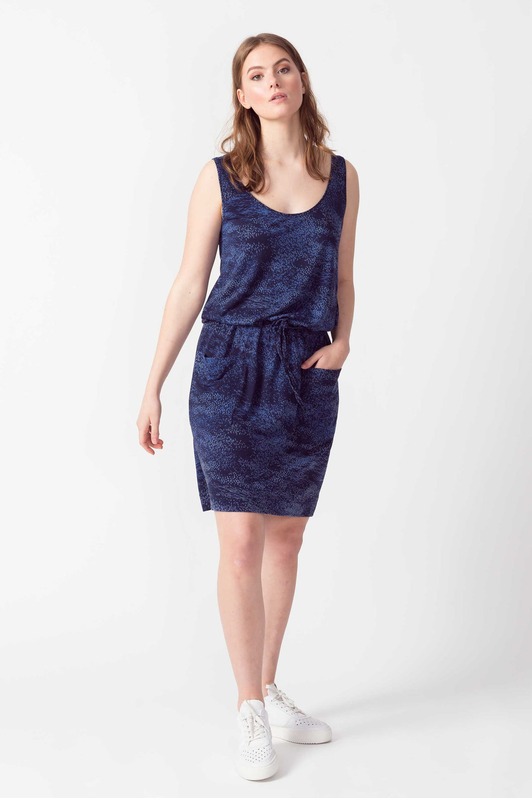 SKFK Zari casual jersey printed patch pocket vest dress in Blues - CW CW