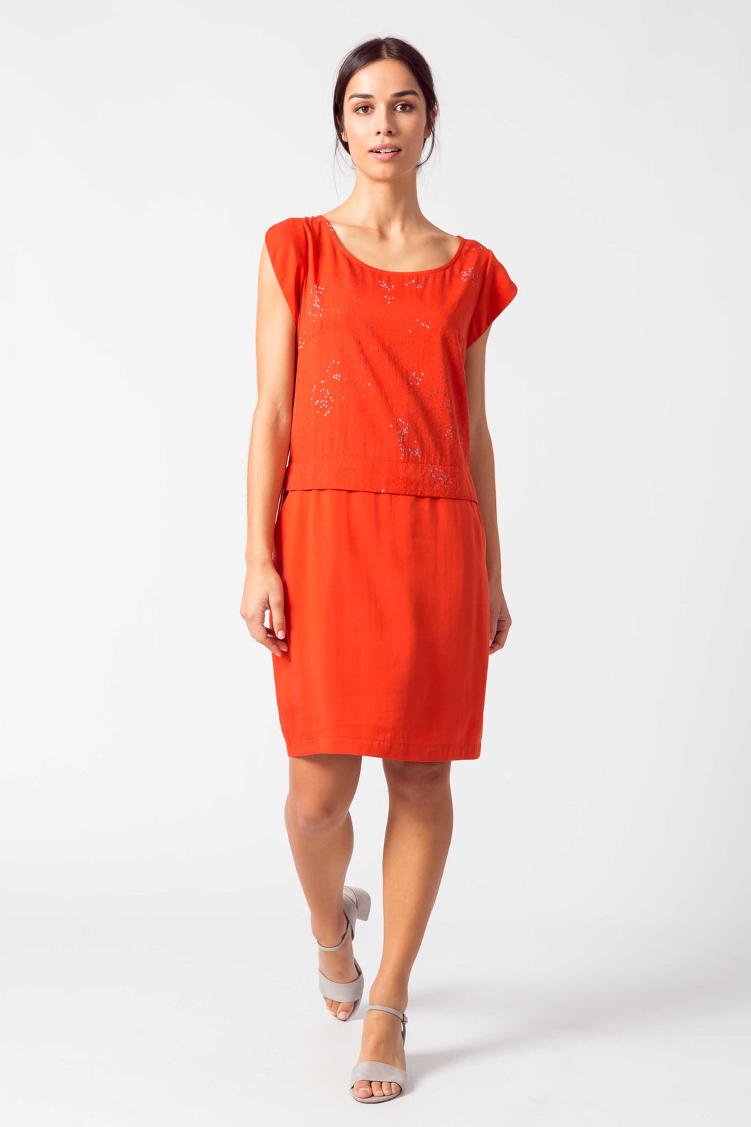 SKFK Nora print and plain casual dress in Orange - CW CW