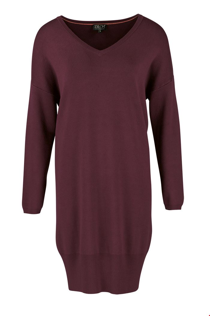 Zilch Knitted V neck bamboo jumper dress in Port
