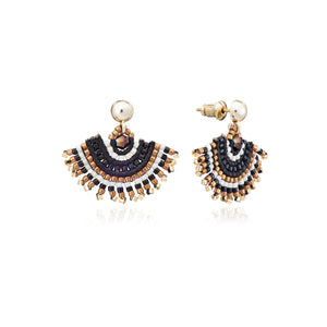 Azuni Radiating fan beaded stud earrings in Black and gold - CW CW