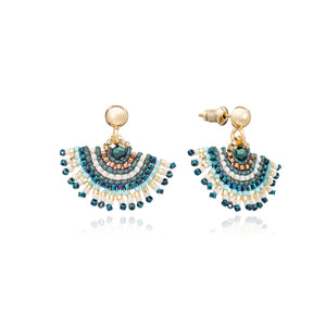 Azuni Radiating fan beaded stud earrings in Blue, green and blue - CW CW