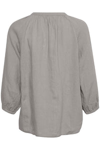 Part Two Hikma 3/4 sleeve loose fit linen blouse in Flint Grey