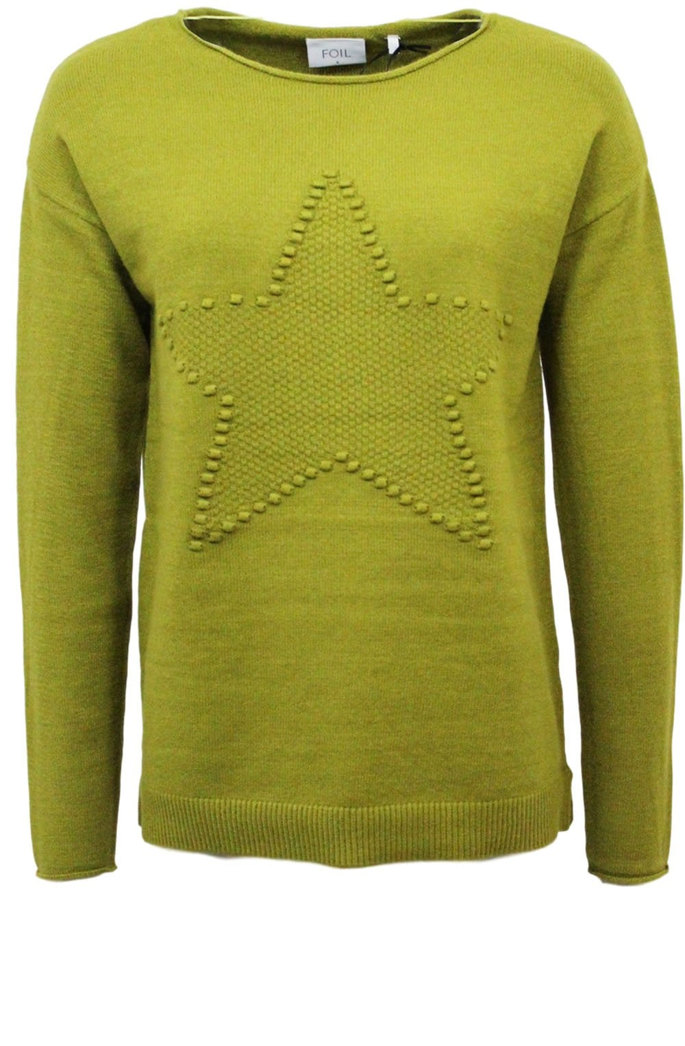 Foil Star Performer sweater in Grassy