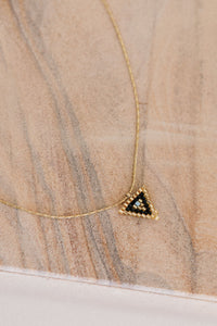 ese O ese Triangular beaded pendant in Gold and Black