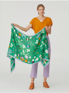 Nice things Hilma print scarf in Intense Green - CW CW