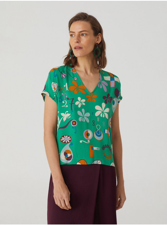 Nice things Hilma print V-neck top in Intense Green - CW CW