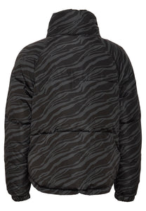 Ichi Georgette Zebra print padded jacket in Grey and Black