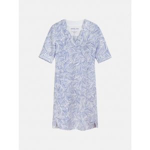 Sandwich Linen dress with organic print in Signal blue - CW CW