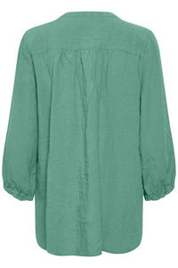 Part Two Lydia easy linen shirt with 3/4 sleeves in Green - CW CW