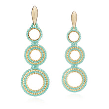 Load image into Gallery viewer, Azuni Magna triple hoop earrings in Turquoise - CW CW