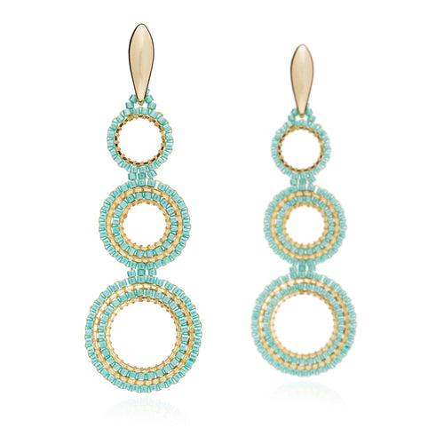 Azuni Magna triple hoop earrings in Turquoise - CW CW