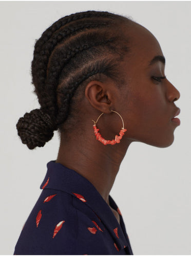 Nice things Nacre hoops in Coral - CW CW