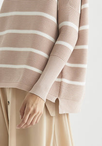 Paisie Striped rib knit oversize jumper in Blush and Milk - CW CW