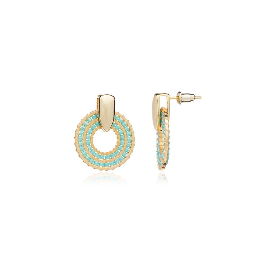 Azuni Pequena simple beaded ring earrings in Turquoise - CW CW
