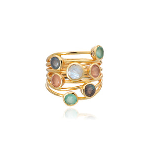 Azuni Iona seven stone entwined ring in Gold with Aqua Chalcedony, Peach Moonstone and White Moonstone - CW CW