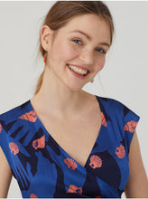 Load image into Gallery viewer, Nice thing Shells Collection print cross neckline dress in Navy - CW CW