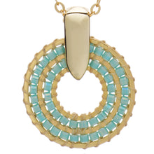 Load image into Gallery viewer, Azuni Pequena hoop beadwork short necklace in Turquoise - CW CW