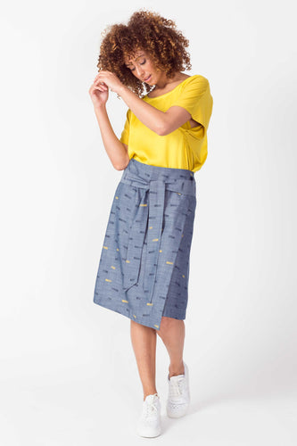 SKFK Dela tencel wrap graphic print tie wrap skirt in Chambray - CW CW