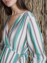 Load image into Gallery viewer, Indi & Cold Woven striped wrap dress in Green - CW CW