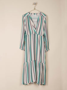 Indi & Cold Woven striped wrap dress in Green - CW CW