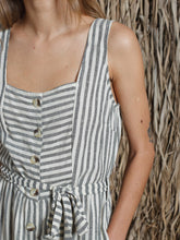 Load image into Gallery viewer, Indi & Cold Striped pinafore style dress in Black - CW CW