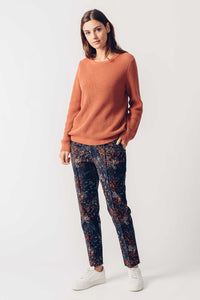 SKFK Hize autumnal print sateen trousers in Black Multi