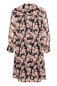 Part Two Georgine lined winter rose print georgette loose fit dress in Black multi